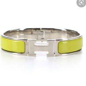 Hermès green/silver enamel narrow clic clac PM